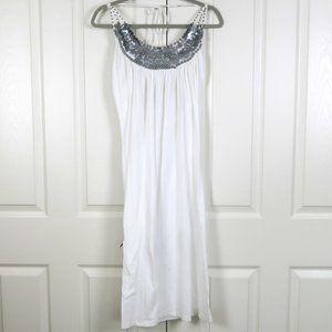 Newport News White Midi Halter Dress M 100% Cotton